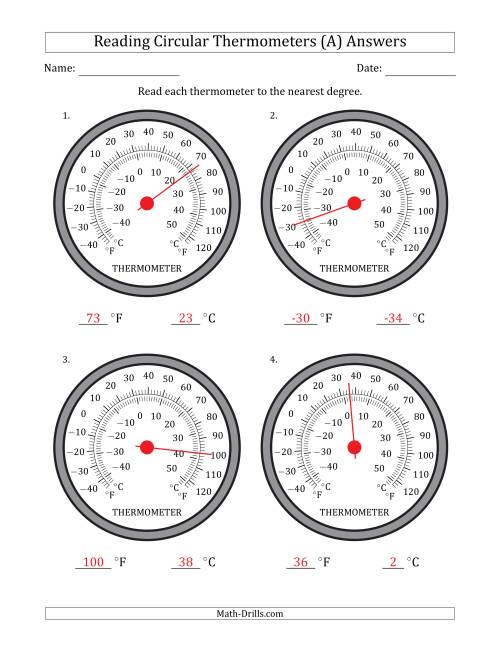 The Reading Temperatures from Circular Thermometers (Fahrenheit Dominant) (All) Math Worksheet Page 2