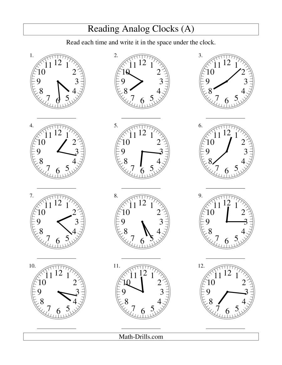 Reading Time on an Analog Clock in 1 Minute Intervals A – Clocks Worksheets