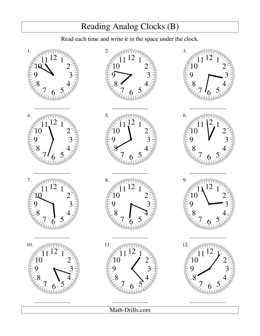 Kumon worksheets preschool : Analog Clock Worksheets