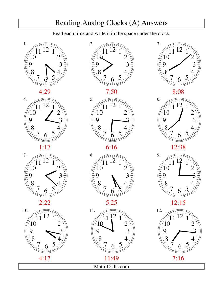 Reading Time on an Analog Clock in 1 Minute Intervals (All)