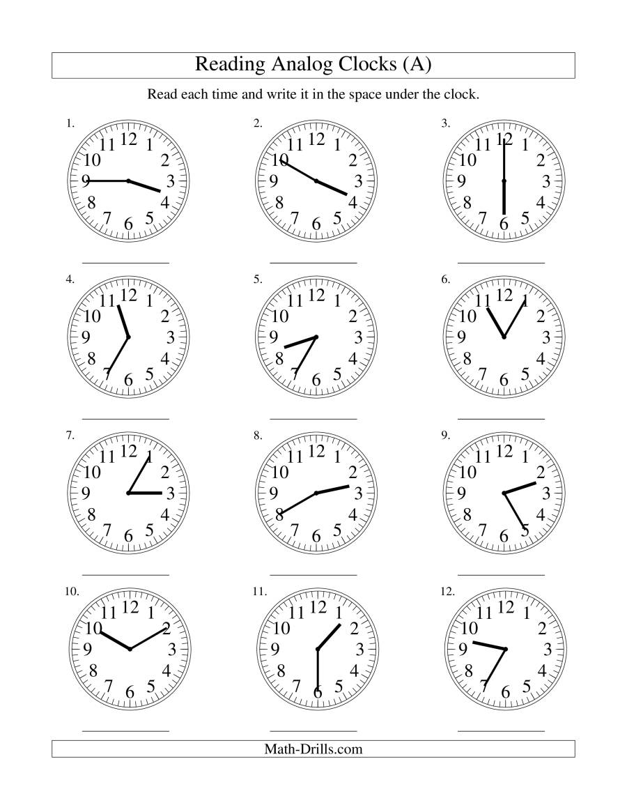 math worksheet : reading time on an analog clock in 5 minute intervals a  : Minute Math Worksheet
