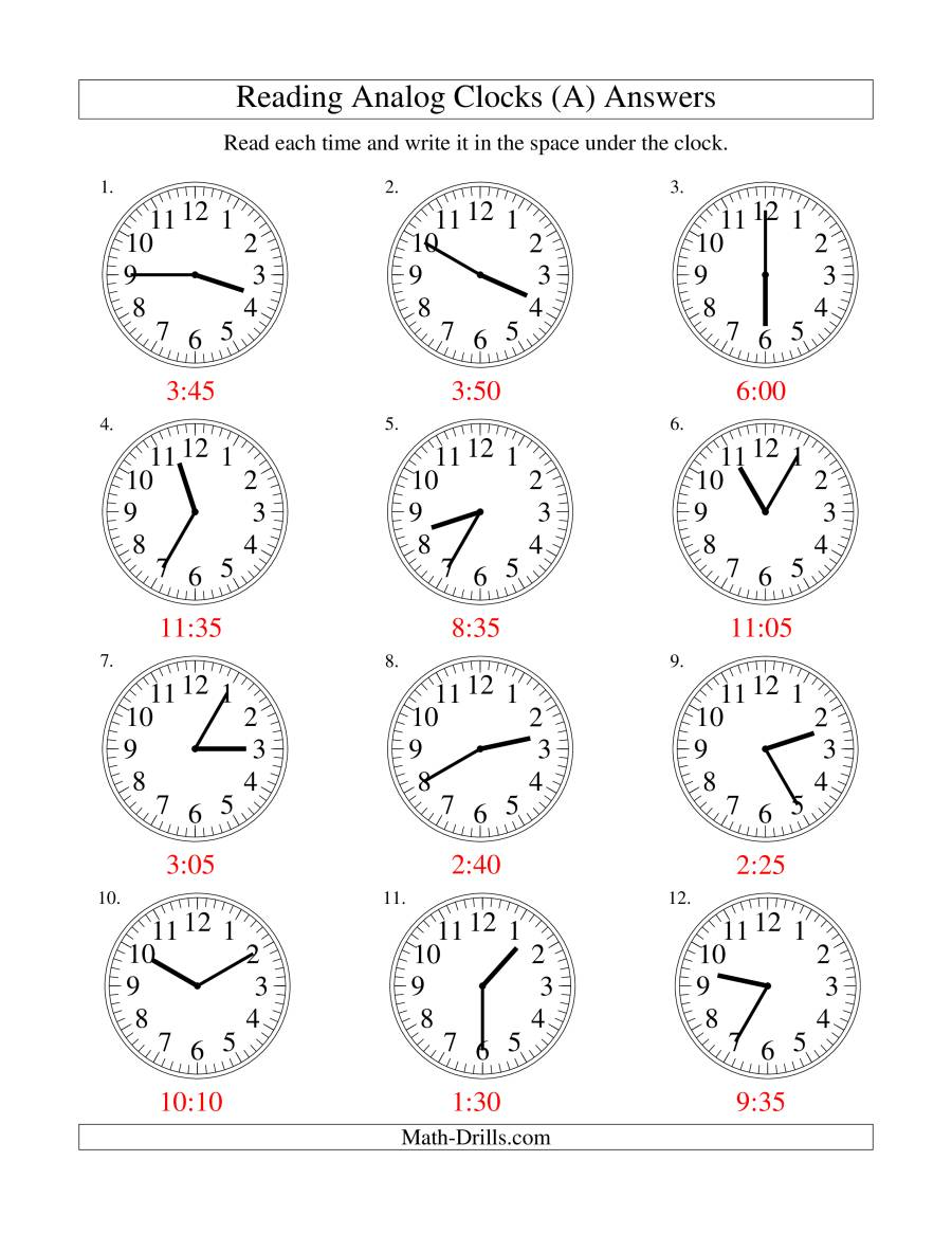 worksheet Read To Someone Worksheet reading time on an analog clock in 5 minute intervals a the math worksheet