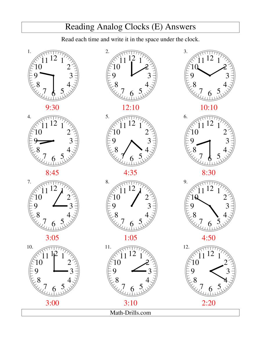 The Reading Time on an Analog Clock in 5 Minute Intervals (E) Math Worksheet Page 2