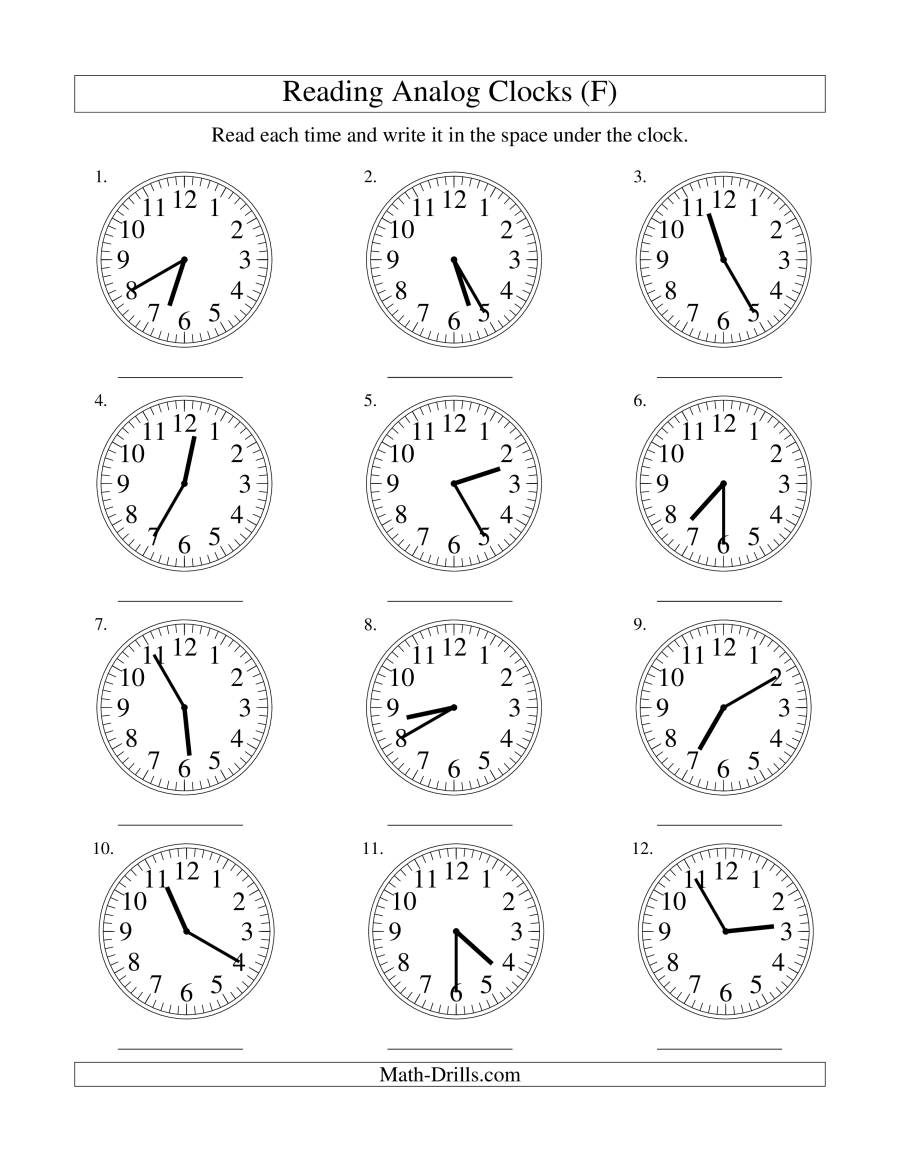 The Reading Time on an Analog Clock in 5 Minute Intervals (F) Math Worksheet