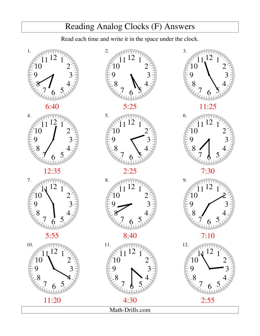 The Reading Time on an Analog Clock in 5 Minute Intervals (F) Math Worksheet Page 2