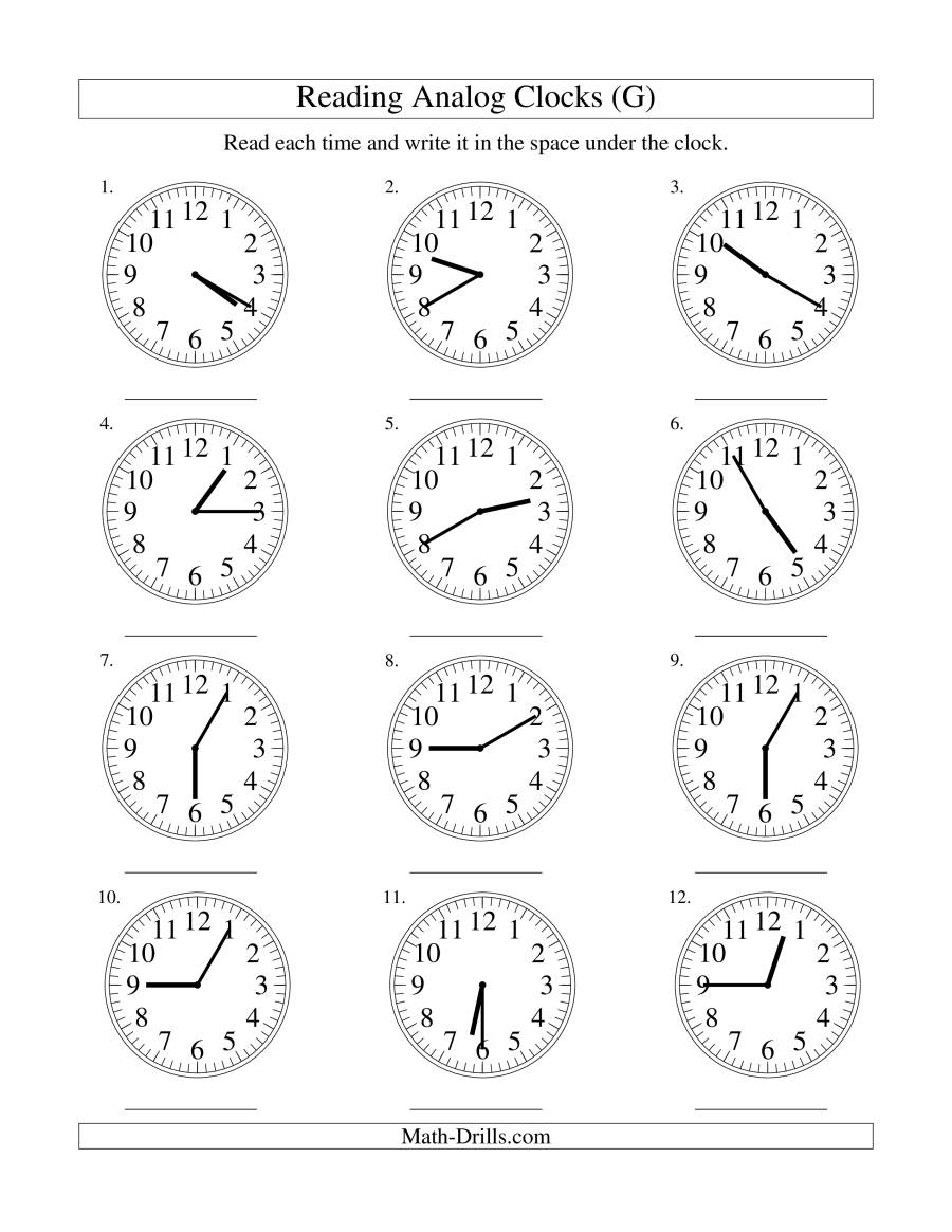 The Reading Time on an Analog Clock in 5 Minute Intervals (G) Math Worksheet