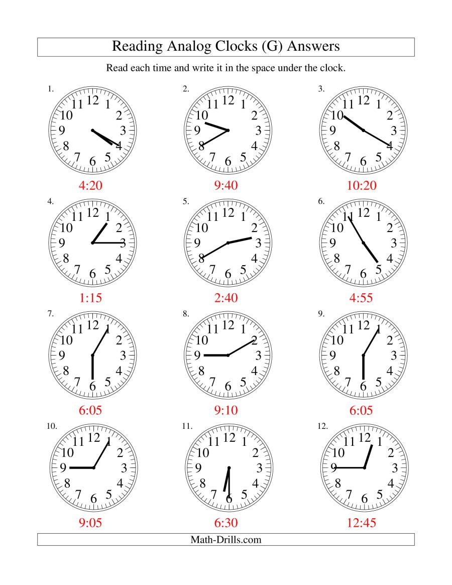 The Reading Time on an Analog Clock in 5 Minute Intervals (G) Math Worksheet Page 2