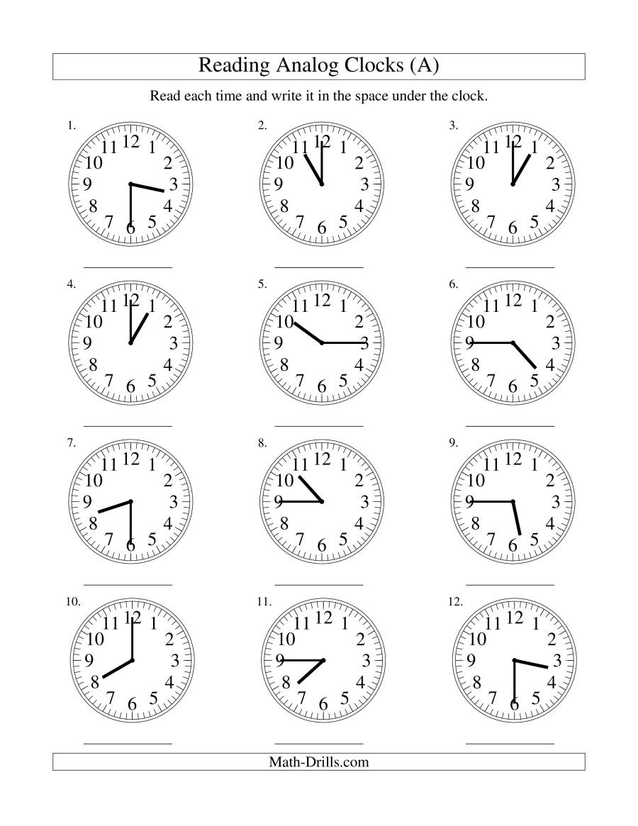 Reading Time on an Analog Clock in 15 Minute Intervals (A