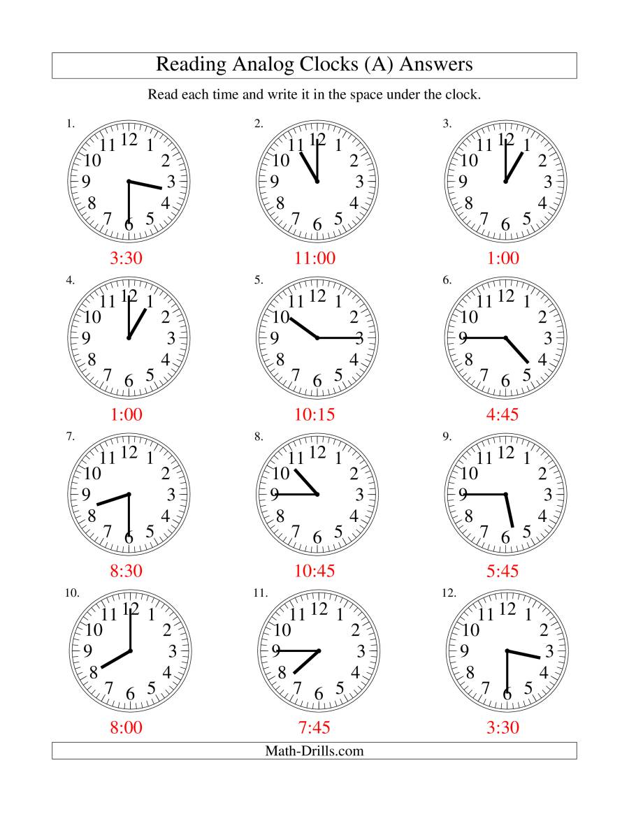reading time on an analog clock in 15 minute intervals a. Black Bedroom Furniture Sets. Home Design Ideas