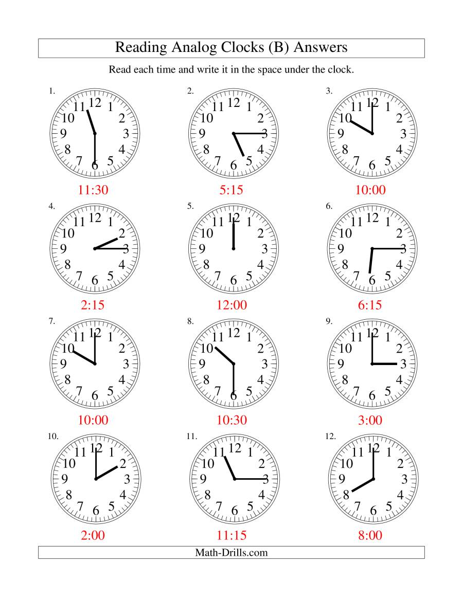reading time on an analog clock in 15 minute intervals b. Black Bedroom Furniture Sets. Home Design Ideas