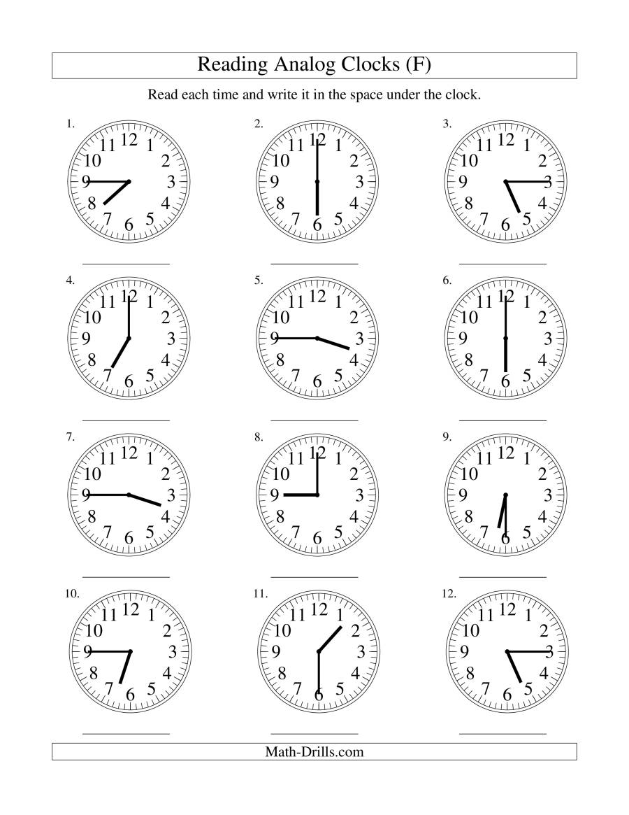 reading time on an analog clock in 15 minute intervals f. Black Bedroom Furniture Sets. Home Design Ideas