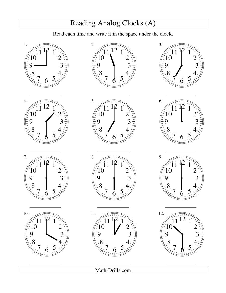 Reading Time On An Analog Clock In 1 Minute Intervals H Measurement ...