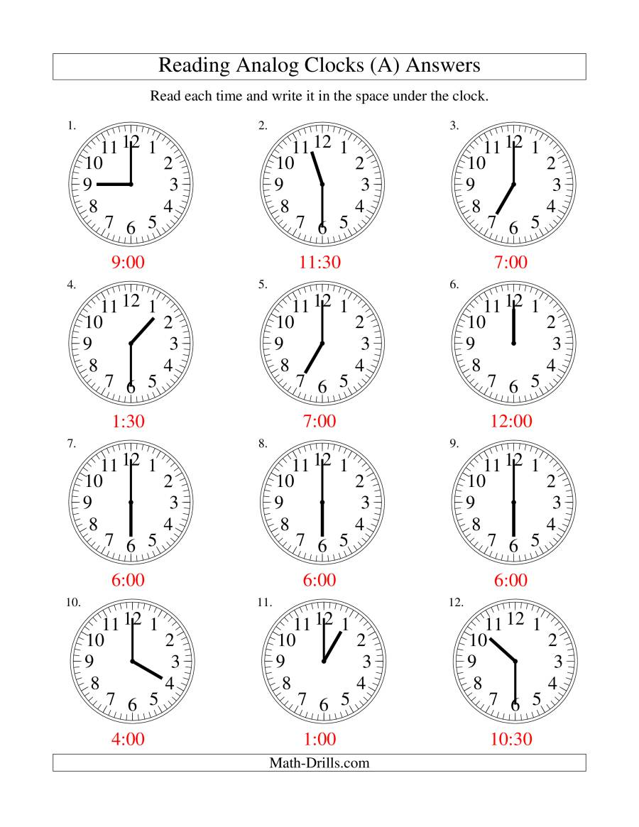 Reading Time on an Analog Clock in 30 Minute Intervals (A)