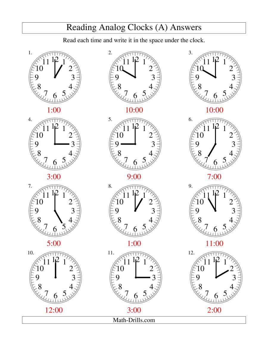worksheet. Time To The Hour Worksheets. Grass Fedjp Worksheet ...