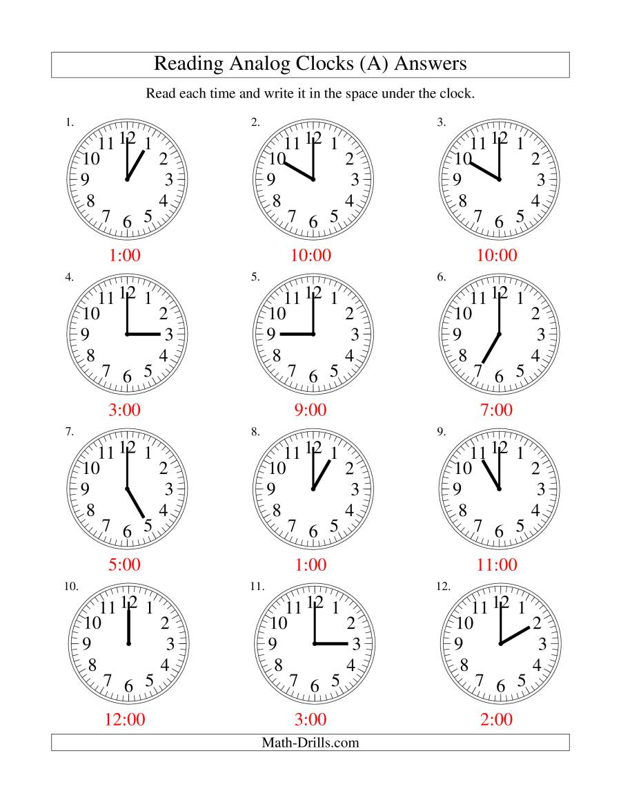 Reading Time On An Analog Clock In One Hour Intervals A