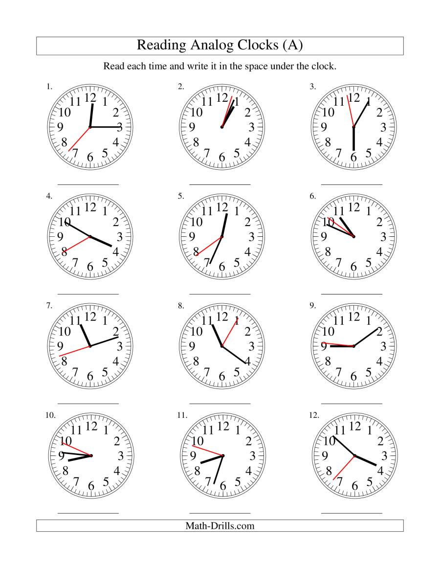 x41a # x411 time on an analog clock in 1 minute intervals b time ...