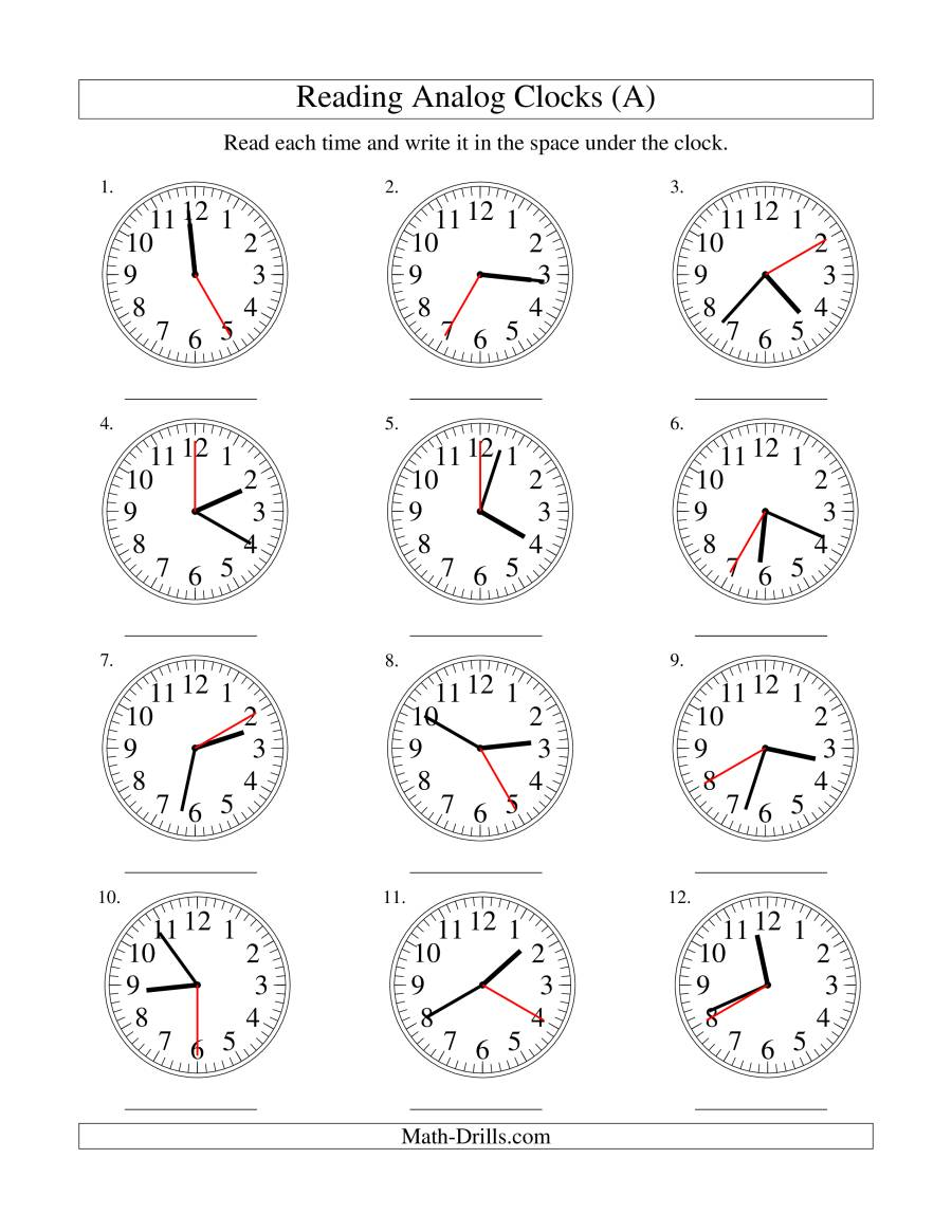 Reading Time on an Analog Clock in 5 Second Intervals (A)