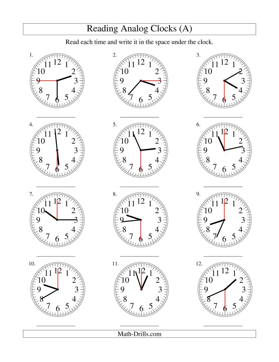 Reading Time on an Analog Clock in 15 Second Intervals A – Analog Clock Worksheets