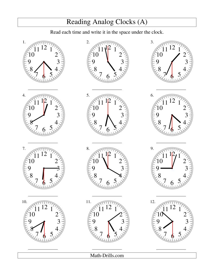 Reading Time on an Analog Clock in 30 Second Intervals A – Analog Clock Worksheet