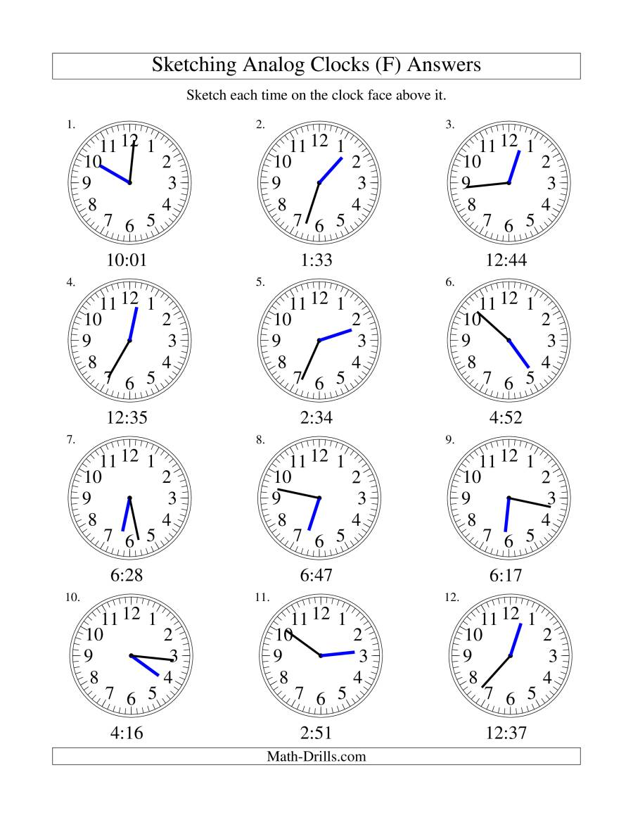 Sketching Time on Analog Clocks in 1 Minute Intervals (F)
