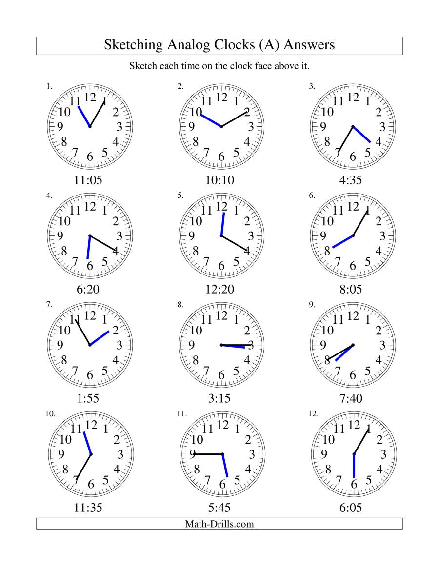 Sketching Time On Analog Clocks In 5 Minute Intervals A
