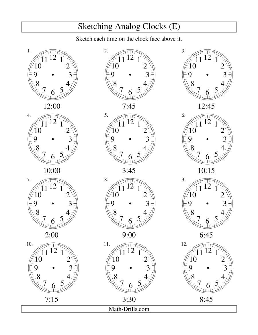 sketching time on analog clocks in 15 minute intervals e. Black Bedroom Furniture Sets. Home Design Ideas