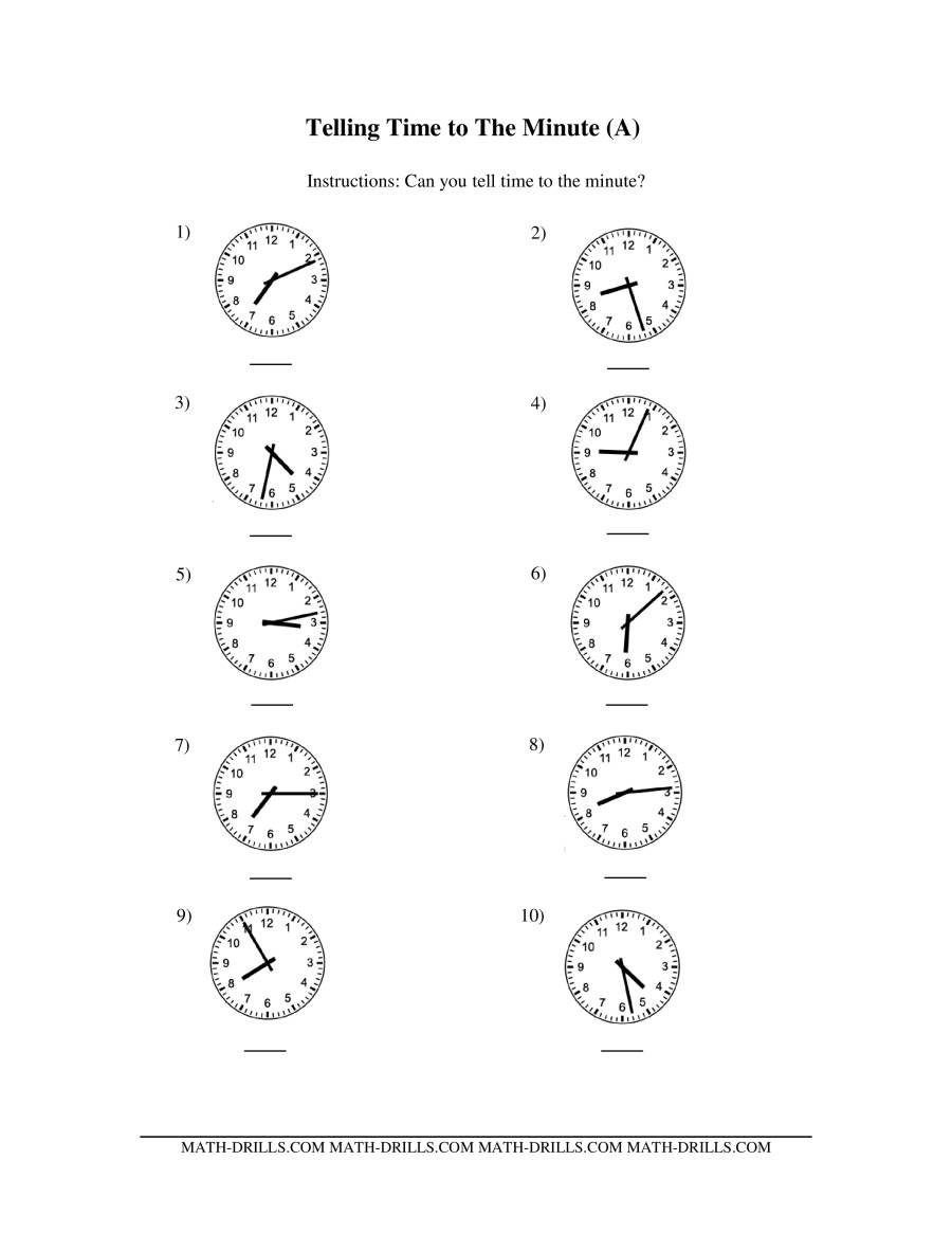 Telling Time on Analog Clocks -- One Minute Intervals (A)