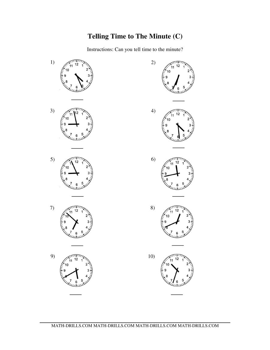 math worksheet : telling time on analog clocks  one minute intervals cc  : One Minute Math Worksheets