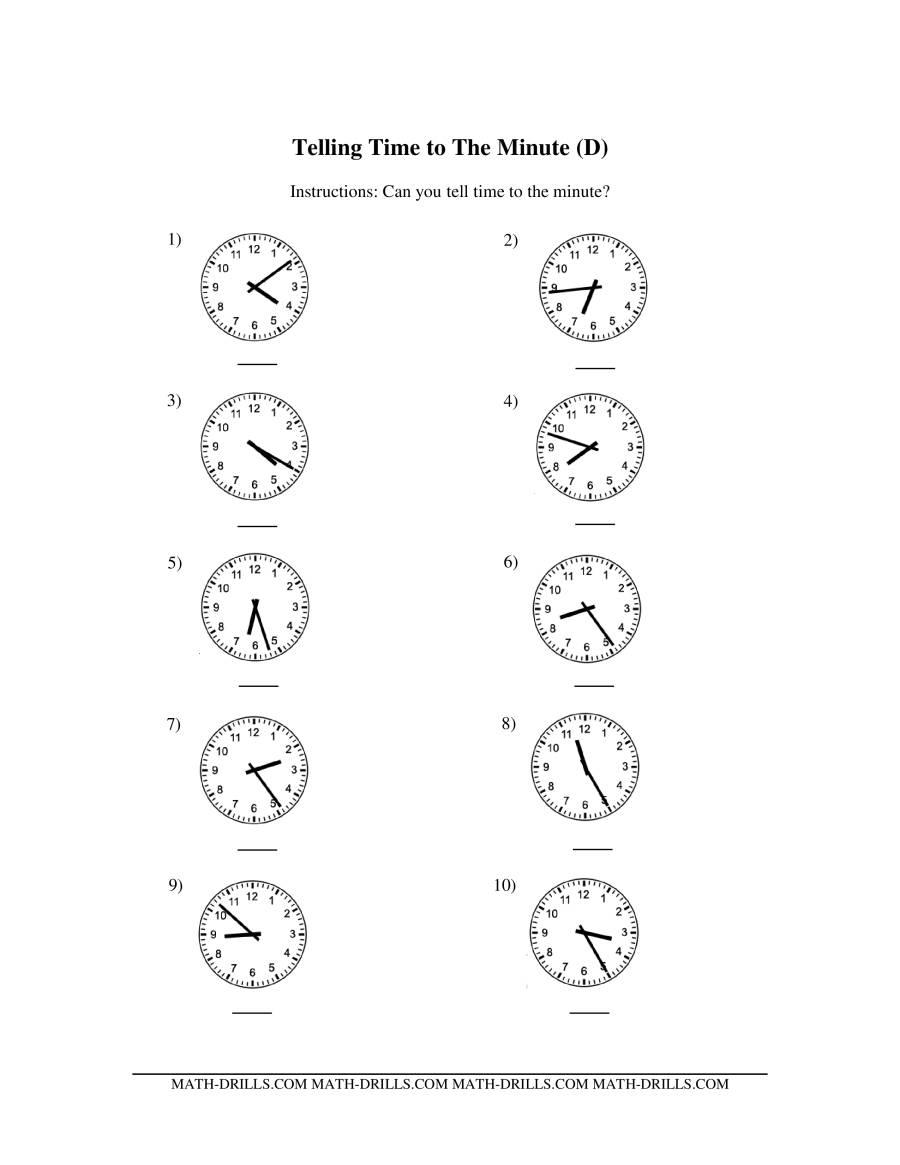 math worksheet : telling time on analog clocks  one minute intervals dd  : One Minute Math Worksheets