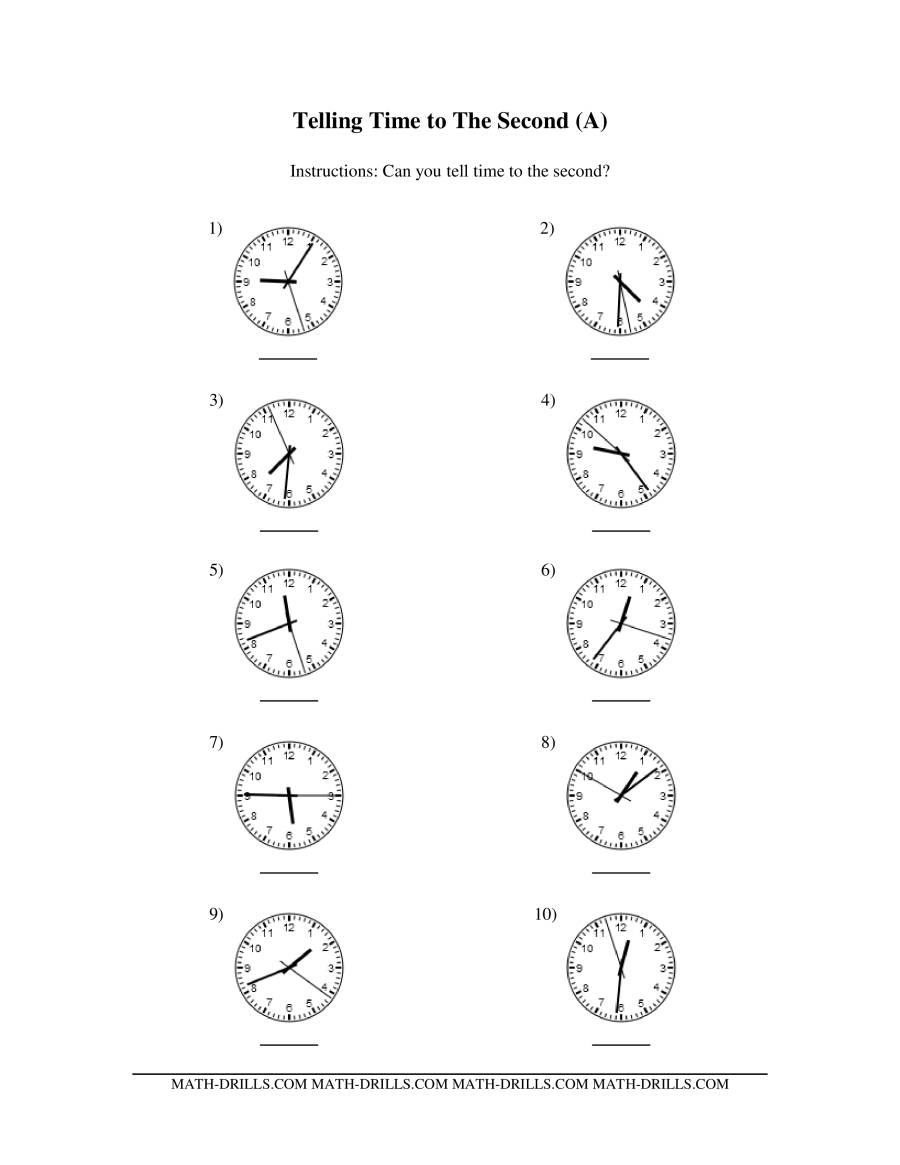 Telling Time on Analog Clocks -- One Second Intervals (A)