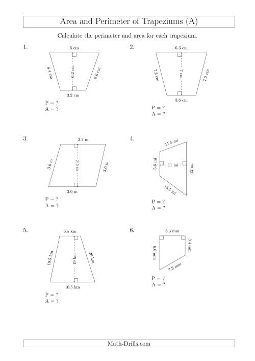 The Calculating Area and Perimeter of Trapeziums (Smaller Numbers) (A) Math Worksheet