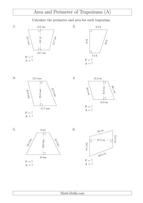 The Calculating Area and Perimeter of Trapeziums (Even Larger Numbers) (A) Math Worksheet