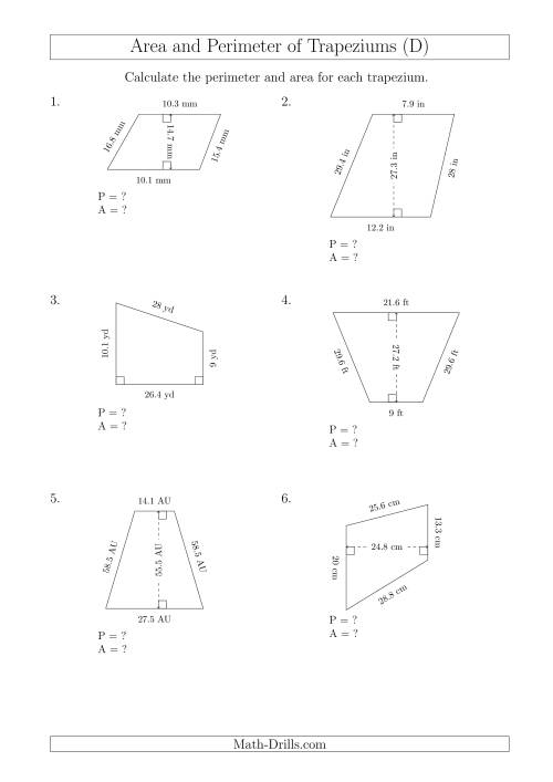 The Calculating Area and Perimeter of Trapeziums (Even Larger Numbers) (D) Math Worksheet