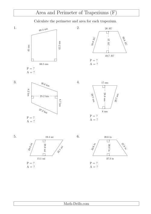 The Calculating Area and Perimeter of Trapeziums (Even Larger Numbers) (F) Math Worksheet