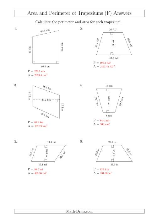The Calculating Area and Perimeter of Trapeziums (Even Larger Numbers) (F) Math Worksheet Page 2