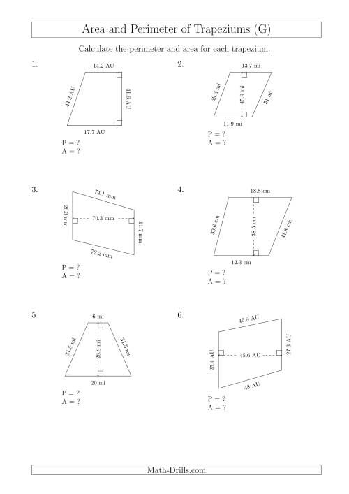 The Calculating Area and Perimeter of Trapeziums (Even Larger Numbers) (G) Math Worksheet