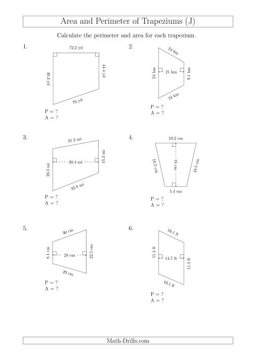 The Calculating Area and Perimeter of Trapeziums (Even Larger Numbers) (J) Math Worksheet