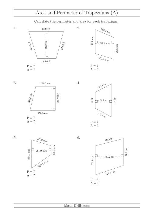 The Calculating Area and Perimeter of Trapeziums (Larger Still Numbers) (A) Math Worksheet