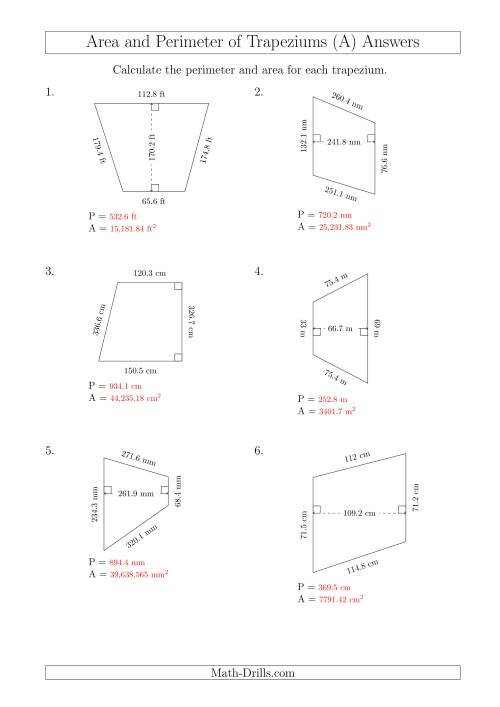 The Calculating Area and Perimeter of Trapeziums (Larger Still Numbers) (A) Math Worksheet Page 2