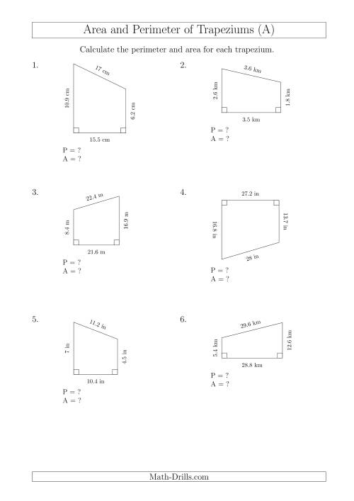 The Calculating Area and Perimeter of Right Trapeziums (A) Math Worksheet