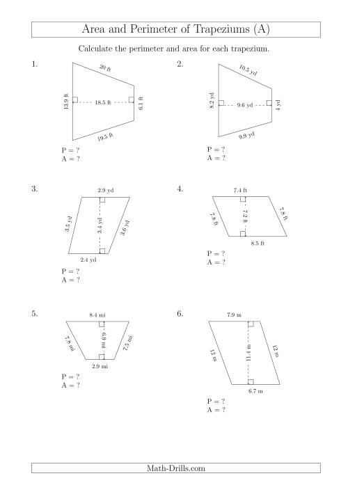 The Calculating Area and Perimeter of Scalene Trapeziums (A) Math Worksheet