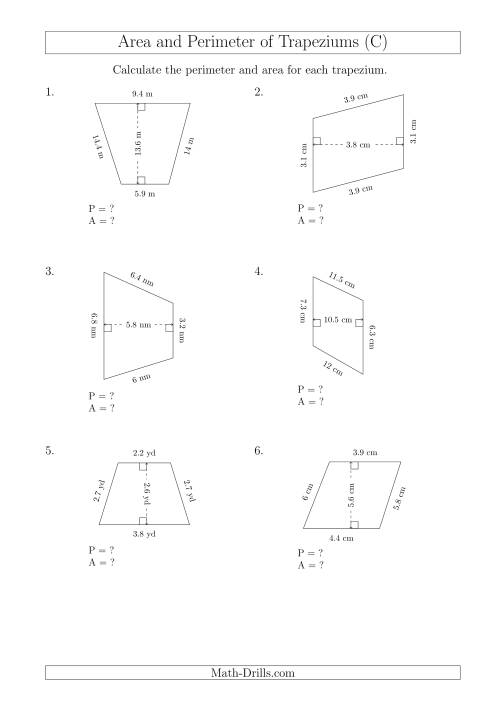 The Calculating Area and Perimeter of Scalene Trapeziums (C) Math Worksheet