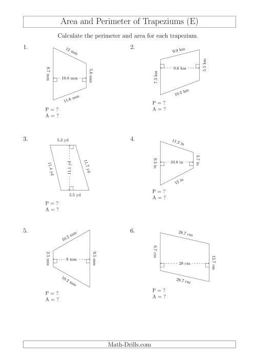 Calculating Area And Perimeter Of Scalene Trapeziums E