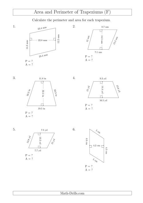 The Calculating Area and Perimeter of Scalene Trapeziums (F) Math Worksheet