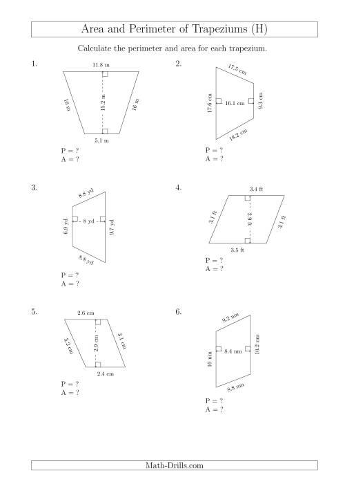 The Calculating Area and Perimeter of Scalene Trapeziums (H) Math Worksheet