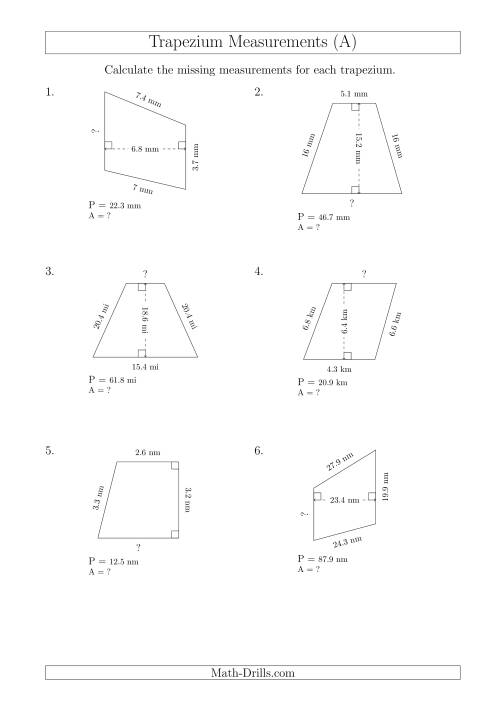 Calculating Bases and Areas of Trapeziums (A) Measurement
