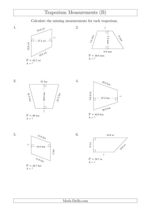 The Calculating Bases and Areas of Trapeziums (B) Math Worksheet