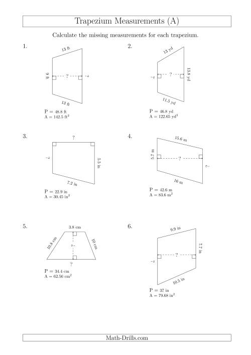 The Calculating Bases and Heights of Trapeziums (A) Math Worksheet