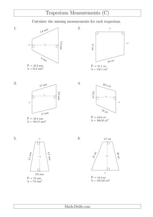 The Calculating Bases and Heights of Trapeziums (C) Math Worksheet