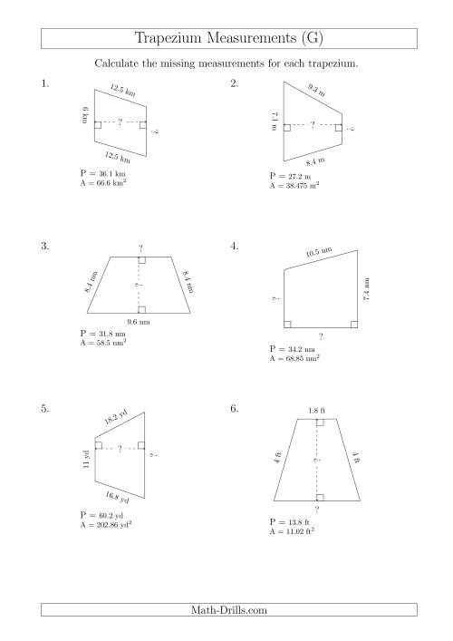 The Calculating Bases and Heights of Trapeziums (G) Math Worksheet